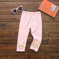 [102224-PINK] - Celana Legging Anak Perempuan Import - Motif Bordir Normal Banded Rabbit