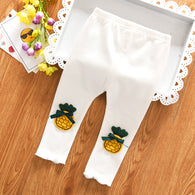 [102225-WHITE] - Celana Legging Imut Anak Perempuan Import - Motif Bordir Fresh Pineapple