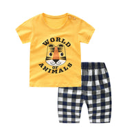 [102230] - Setelan Daily Wear Anak Import / Baju Setelan Anak - Motif World of Animals