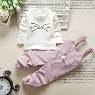 [102244-WHITE PINK] - Baju Setelan Overall Anak Perempuan Import - Motif Pom Pom Mustache