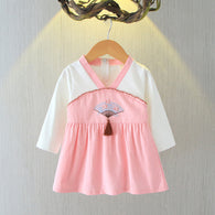 [102245-PINK] - Dress Anak Perempuan Import - Motif Bordir Korean Traditional