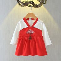 [102245-RED] - Dress Anak Perempuan Import - Motif Bordir Korean Traditional
