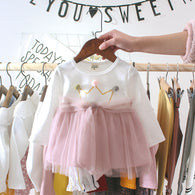[352158-WHITE PINK] - Dress Import Anak Perempuan High Fashion - Motif Pom Pom Crown