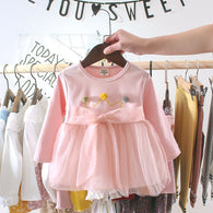 [352158-PINK] - Dress Import Anak Perempuan High Fashion - Motif Pom Pom Crown