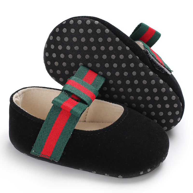 [105242-BLACK] - Baby Shoes Prewalker - Motif Flat Shoes Stripe