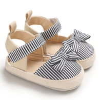 [105250-BLACK] - Sepatu Anak Prewalker Import / Beautiful Shoes - Motif Stripe Ribbon