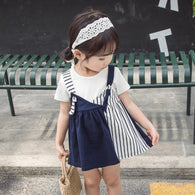 [358182-NAVY] - Dress Tanpa Lengan Anak Perempuan Import - Motif Combination of Lines