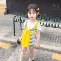 [358182-MUSTARD] - Dress Tanpa Lengan Anak Perempuan Import - Motif Combination of Lines