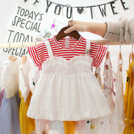 [352193-RED STRIPE] - Dress Import Anak Perempuan Kawai Style - Motif Rope Pin