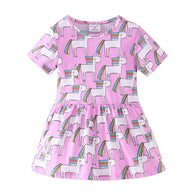 [357409-PURPLE] - Dress Anak Perempuan Modis / Dress Anak Import - Motif Unicorn Cartoon
