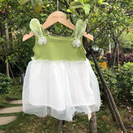 [352110-GREEN] - Dress Renda Anak Perempuan Kekinian - Motif Bros 3D