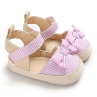 [105250-PINK] - Sepatu Anak Prewalker Import / Beautiful Shoes - Motif Stripe Ribbon