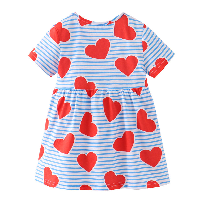 [357420] - Dress Anak Perempuan Modis / Dress Anak Import - Motif Striped Heart Pattern