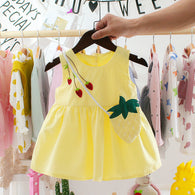 [352159-LIGHT YELLOW] - Dress Import Anak Perempuan High Fashion - Motif Three Strawberries