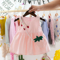 [352159-PINK] - Dress Import Anak Perempuan High Fashion - Motif Three Strawberries
