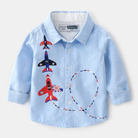 [366129-LIGHT BLUE] - Kemeja Import Atasan Anak - Motif Three Jet Plane