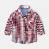 [366124-RED BLACK] - Kemeja Import Atasan Anak - Motif Gingham Variation