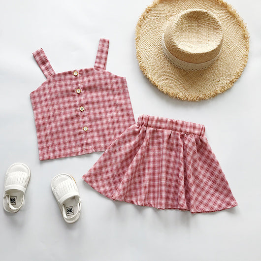 [363220-RED] - Setelan Import Fashion Trend Anak Perempuan - Motif Small Madras