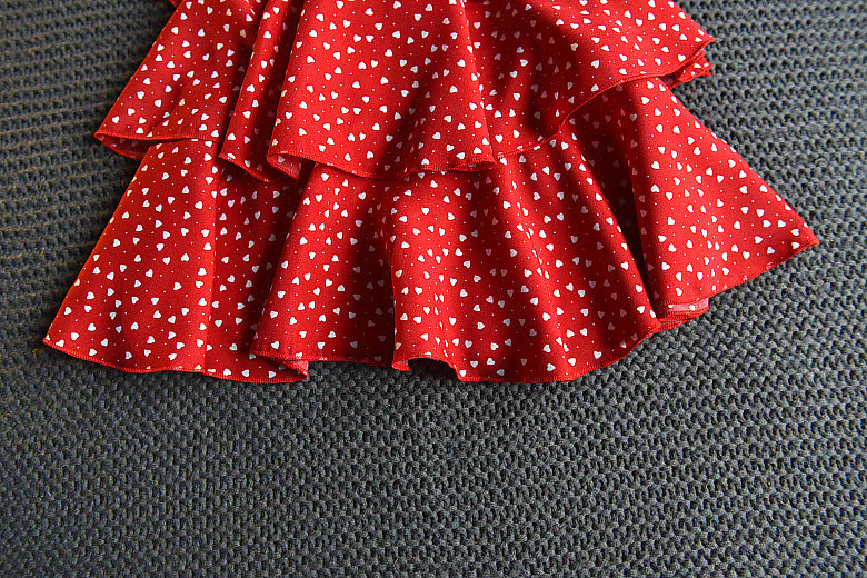 [363170-RED] - Dress Modis Anak Perempuan / Fashion Anak Import - Motif Heart Point