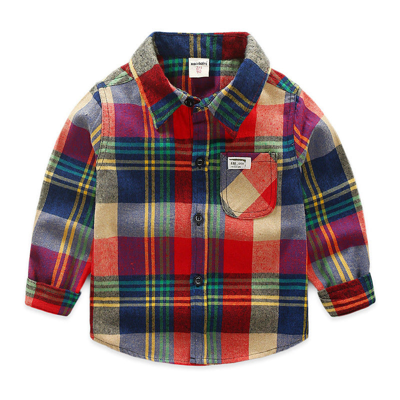 [119108] - 100%IMPORT Kemeja Anak Flanel Boxes Red Mix Color [B1201]