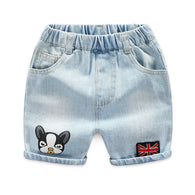 jual [119175-BLUE DENIM] - Celana Pendek Jeans Anak Korea - Motif Flags & Dogs