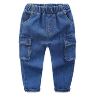 jual [119191-BLUE] - Celana Jeans Anak Cargo Fashionable - Motif Solid Color