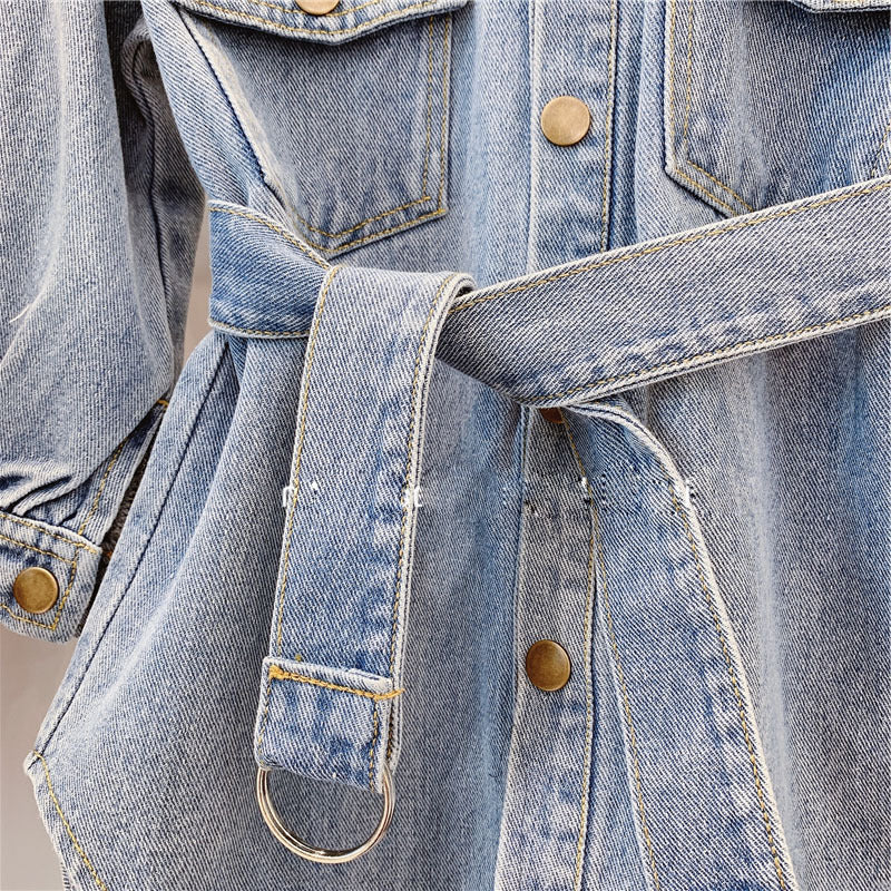 [507171] - Atasan Outerwear Import Fashion Anak Perempuan - Motif Denim Belts