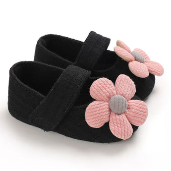 [105251-BLACK] - Beautiful Shoes / Sepatu Anak Prewalker Import - Motif Knitting Flowers