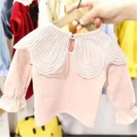 [352194-PINK] - Atasan Import Anak Perempuan Sweet Fashion - Motif Large Fold Collar