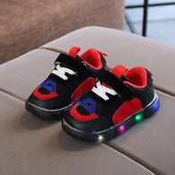 [343106-BLACK RED] - IMPORT Sepatu Light Sport Anak Unisex - Motif Strappy Adhesive