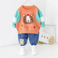 [364134-BRICK ORANGE] - Setelan Premium Sweater Anak / Setelan Import - Motif Amazing Bear