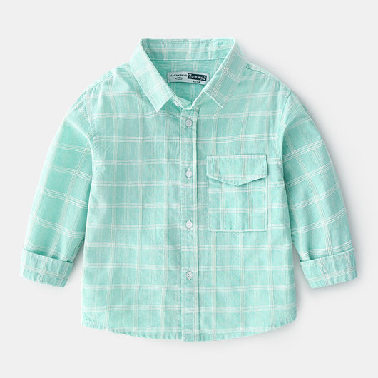 [366131-GREEN TOSCA] - Kemeja Import Atasan Anak - Motif Cool Windowpane