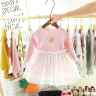 [352168-PINK] - Dress Import Anak Perempuan High Fashion - Motif Crowns and Stars
