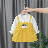 [352169-MUSTARD] - Dress Import Anak Perempuan High Fashion - Motif Small Rainbow