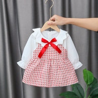 [352192-RED] - Dress Import Anak Perempuan Kawai Style - Motif Madras Tie Ribbon