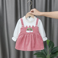 [352169-PINK SALEEM] - Dress Import Anak Perempuan High Fashion - Motif Small Rainbow