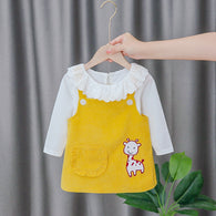 [352216-MUSTARD] - Setelan Overall Import Anak High Fashion - Motif Cute Giraffe