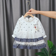 [352195-WHITE] - Dress Import Anak Perempuan Sweet Fashion - Motif Lower Crease