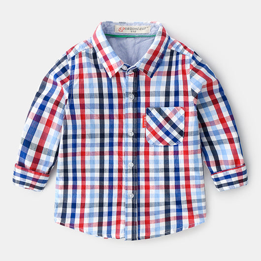 [366139-BLUE RED] - Kemeja Import Atasan Anak - Motif Sweet Gingham