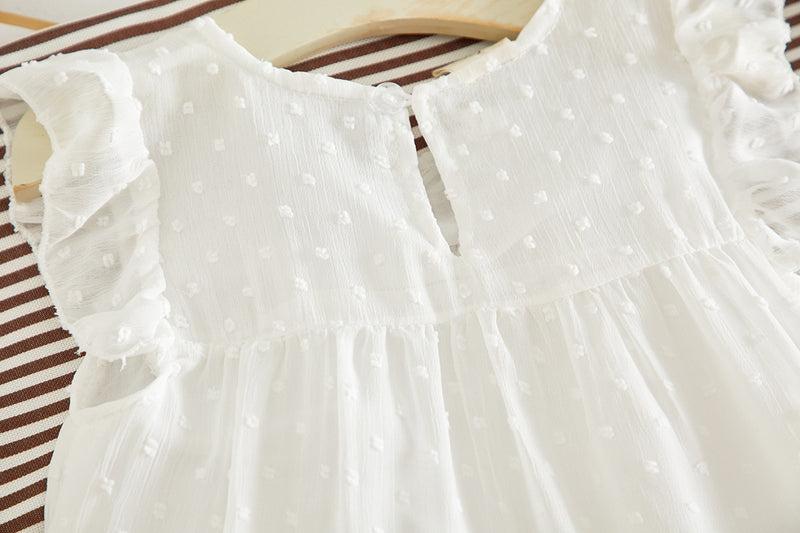 [363127-WHITE] - Dress Fashion Anak Perempuan Modish - Motif Spotted Lace