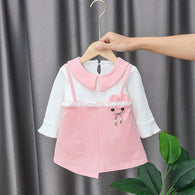 [352197-PINK] - Dress Import Anak Perempuan Sweet Fashion - Motif Shaped Accessories