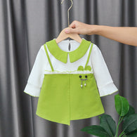 [352197-GREEN] - Dress Import Anak Perempuan Sweet Fashion - Motif Shaped Accessories