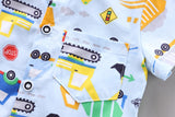 [368109-WHITE NAVY] - Setelan Kemeja Koko Anak Import - Motif Dredges and Trucks