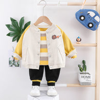 [345133-YELLOW BEIGE] - Setelan Jaket Baseball Anak 3 in 1 / Setelan 3 in 1 Import - Motif Cute Lion