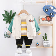 [345133-GREEN BEIGE] - Setelan Jaket Baseball Anak 3 in 1 / Setelan 3 in 1 Import - Motif Cute Lion