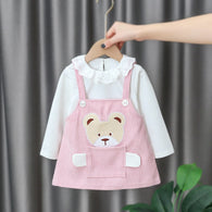 [352175-PINK] - Dress Import Anak Perempuan High Fashion - Motif Large Bag Bears