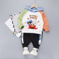 [345156-WHITE ORANGE] - Setelan Sweater Hoodie Anak / Setelan Hype Import - Motif Dinner Cookie