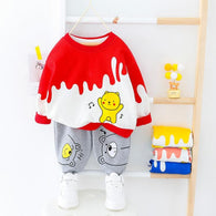 [364123-RED] - Setelan Premium Sweater Anak / Setelan Import - Motif Singing Bear