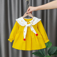 [352217-MUSTARD] - Dress Import Anak Perempuan High Fashion - Motif Polkadot Collar