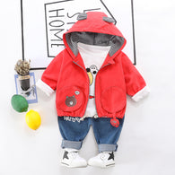 [345129-RED] - Setelan Hoodie Jacket 3 in 1 Anak / Setelan Anak Fashionable - Motif Shawl Bear